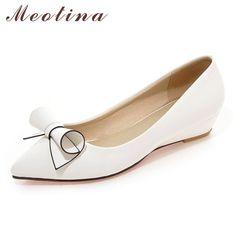 Meotina Shoes Women Bow Low Heels