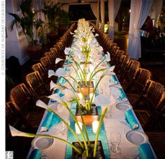Turquoise And Brown Wedding Decorations | calla lilies wedding reception