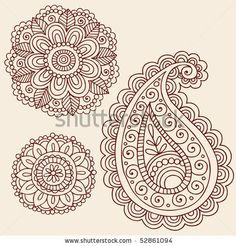 Hand-Drawn Henna Mehndi Tattoo Flowers and Paisley Doodle Vector Illustration Design Elements by blue67design, via Shutterstock