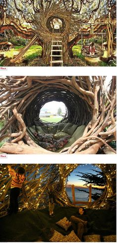 California-based artist Jayson Fann designs and creates spirit nests which are big enough for humans. Each nest is an interactive and functional art sculpture.