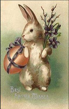vintage Paashaas kaart met ei,......................lb