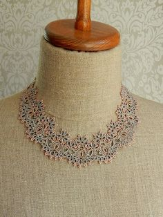 """Lorina Balteanu designs ethereal jewelry using the age old technique of """"tatting"""". Tatting Necklace, Tatting Jewelry, Lace Jewelry, Jewelery, Handmade Jewelry, Beaded Necklace, Needle Tatting, Tatting Lace, Tatting Patterns"""