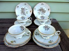 4 Hutschenreuther Sylvia Cups, Saucers & plates  Nice German made bone china in excellent condition  fabulous trios  this is part of a large collection that I h...