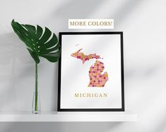 Michigan map print USA state poster state map print modern wall art USA prints map pink gold mosaic map Michigan art print Michigan poster