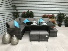 Signature Weave Garden Furniture Charlotte Corner Dining Sofa Set in Grey Rattan Corner Sofa, Dining Sofa, Garden Furniture Sets, Corner Sofa Set, Garden Sofa Set, Corner Dining Set, Metal Garden Furniture, Patio Table Set, Outdoor Furniture Sets