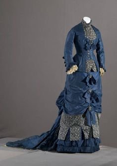 1879, silk, brocade, and lace bridesmaid dress.