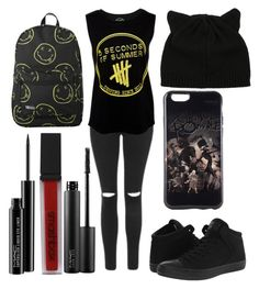 """""""Trash Trio // Outfit 3"""" by itsvictoria72 ❤ liked on Polyvore featuring Topshop, Converse, Smashbox and MAC Cosmetics"""