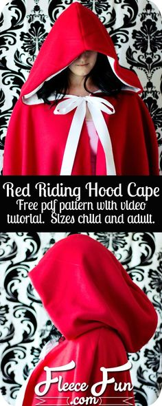 This Red Riding Hood cape pattern is one of Fleece Funs most popular.  The circular half cape is perfect for going to grandmothers house in  its warmth will keep the chill from nipping, but not necessarily wolves. This half cape can be made at differe