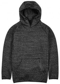 Y-3 grey mélange cotton blendsweatshirt Drawstring hood, black jersey…