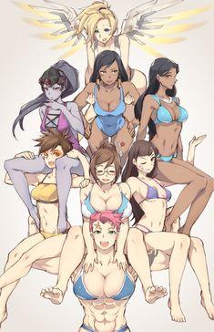 Overwatch Ladies - More at https://pinterest.com/supergirlsart/ #bikini #swimsuit #overwatch #ladies #girls #pharah #mercy #widowmaker #symmetra #tracer #mei #zarya #d.va #diva #dva #fanart