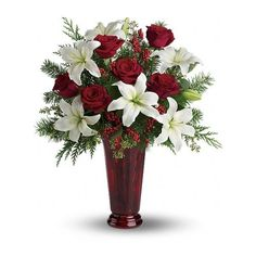 Holiday Magic Flowers (20 RON) ❤ liked on Polyvore featuring home, home decor, floral decor, flowers, christmas, nature, white rose arrangement, rose flower arrangement, flower home decor and flower stems