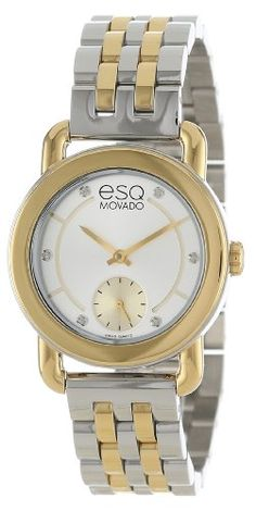 movado men s 0606610 museum stainless steel black leather and esq by movado women s 07101411 classica two tone watch esq movado