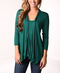 Another great find on #zulily! Green Layered Cardigan - Plus by Lbisse #zulilyfinds