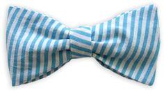 Querbinder Vichy blau gestreift – Zena Millan – handcrafted bow ties