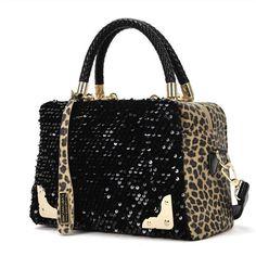 Women Sequin Leopard Messenger Cross Shoulder Bag Handbag HandBag Alternative Measures
