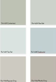 THESE PAINT COLORS. Light blue for bedroom, darker blue or light green for bathroom, grays for kitchen and living room- Sherwin Williams Paint Colors Interior Paint Colors, Paint Colors For Home, Paint Colours, Interior Painting, Beach Paint Colors, Fixer Upper Paint Colors, Gray Interior, Interior Design, Contemporary Interior