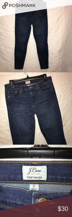 """J.Crew Toothpick skinny stretch blue jeans size 29 Stretchy jeans that come with the skinny legs and a light sandblasted wash. The jeans are made from cotton, polyester and elastane. They have been worn before and are still in excellent condition. The waist measures 30"""", the inseam is 27.5"""" and the rise is 8.5"""" J. Crew Jeans Skinny"""
