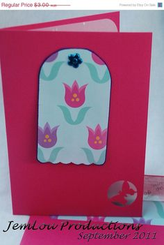 Pink Flower Card by JemLouProductions on Etsy