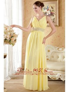 Yellow Column / Sheath V-neck Floor-length Chiffon Beading and Ruch Prom / Evening Dress- $127.56  www.fashionos.com  zipper up back prom dress | 2013 popular prom dress for formal evening | cheap prom dress under 150 | beaded floor length prom dress | lovely 2013 prom dress | online dress store | free shipping | ruched floor length prom dress | beaded chiffon floor length prom dress | beaded chiffon prom dress |