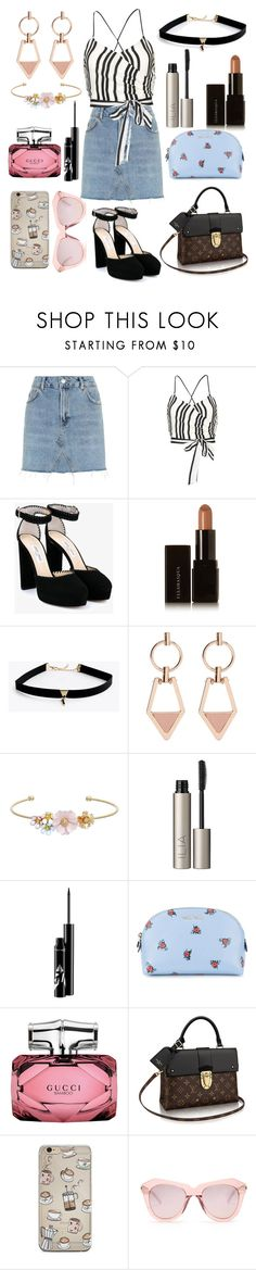 """""""Can't wait for summer"""" by meganjaned ❤ liked on Polyvore featuring Topshop, Alice + Olivia, Jimmy Choo, Illamasqua, Mix & Match, LC Lauren Conrad, Ilia, Miu Miu, Gucci and Karen Walker"""