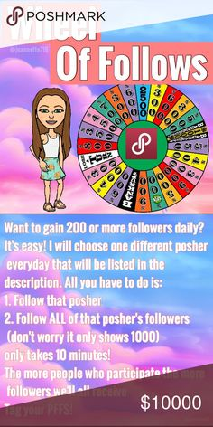 """FOLLOW WHEEL GAME🚨 POSHER OF THE DAY 6/23: @kdbst1 Steps: 1. Follow the posher of the day👆🏼 2. Follow ALL of her followers (don't worry it will only show 1000) *make sure to follow ALL of them it will only take 10 min* 🚨EARN 200+ FOLLOWERS DAILY🚨 I got this idea from other poshers and it's been very successful. The idea is to make a """"wheel"""" just like the ones suggested users get on  The more people who play the more we'll all gain Tag your PFFS!   Tags: follow game Share Group gain…"""