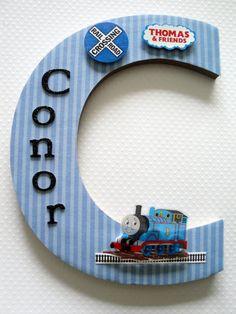 Thomas Train Name Plaque Single Initial Personalized Boys Thomas The Train Room Boys Nursery