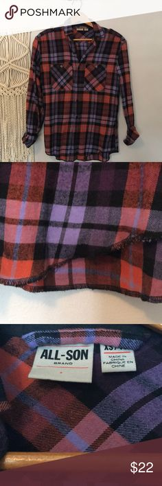 Cozy Flannel Cozy and Warm All Son Flannel! Worn a couple times! Love the purple and Orange plaid, feels very Fall and Winter! This is more Unisex to me it fits like a woman's Medium! No flaws and in great condition! Puffy vest and boots and the look is complete! All Son Shirts Casual Button Down Shirts