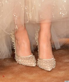 Close up of Zooey Deschanel shoes worn to the 2014 Golden Globes...Her Oscar de la Renta ensemble on the Globes' red carpet was the perfect blend of vintage glam and modern-day edge.