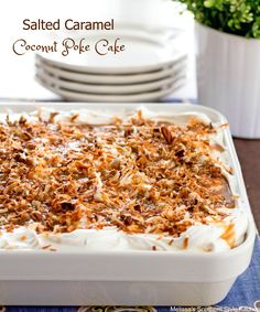 The preparation for this Salted Caramel Coconut Poke Cake is incredibly…