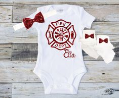 Personalized red glitter Maltese cross Firefighter's Girl daughter Baby Toddler Tee Bodysuit Top Shirt T-Shirt Onesie Bow Headband & Socks! by GumDropDarling on Etsy Tutu Outfits, Girl Outfits, Fireman Room, Firefighter Bedroom, Firefighter Baby Showers, Firefighter Quotes, Baby Mine, Diy Shirt, Maltese Cross