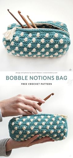 If you have any troubles organizing your crocheting tools, or anything else, this sweet bobble bag might be just perfect for you to solve this problem! It's also a great idea for a pencil case for your children. Crochet Pouch, Crochet Purses, Crochet Gifts, Cute Crochet, Crochet Stitches, Knit Crochet, Crochet Patterns, Crochet Bags, Crochet Pencil Case
