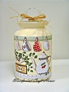 #diy #handmade #woodpointcrafthouse #gift #painting #countrypainting #decopage #stencil #handpainting #tea Bottle Painting, Diy Painting, Painting On Wood, Decoupage Jars, Decoupage Paper, Jar Crafts, Diy And Crafts, Tole Decorative Paintings, Painted Jars