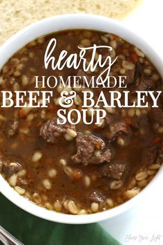 Delicious Soups To Make This Winter Delicious and wholesome beef and barley soup with tender and flavorful steak and a rich broth.Delicious and wholesome beef and barley soup with tender and flavorful steak and a rich broth. Hearty Soup Recipes, Beef Recipes, Cooking Recipes, Beef Broth Soup Recipes, Recipies, Barbecue Recipes, Beef Soups, Hamburger Recipes, Barbecue Sauce