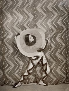 Pierrot-Éclair costume designed by Sonia Delaunay, on the set of René Le Somptier's film Le P'tit Parigot 1926
