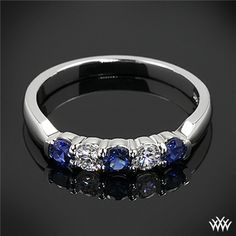 """Five Stone """"Shared-Prong"""" Diamond Wedding Ring is set in 14k white gold and has been customized to have alternating A CUT ABOVE® Hearts and Arrows Diamond Melee and blue sapphires."""