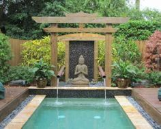 How To Make A Zen Garden Design In Your Backyard: Zen Garden Design In Asian Pool With Water Features And Outdoor Water Fountains Also Japanese Maple And Rectangular Pool Plus Potted Plants And Wood Fence Balinese Garden, Bali Garden, Garden Pool, Garden Landscaping, Garden Theme, Landscaping Ideas, Balinese Decor, Balcony Garden, Zen Garden Design