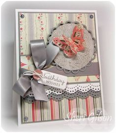 Shabby Chic ... grey, coral, ribbon and lace + 3D butterfly.  ♥♥♥