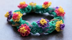 Rainbow Loom Waterlily Charm and Bracelet Tutorial by YarnJourney