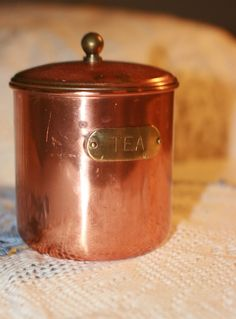 Lovely Vintage Copper Kitchen Tea Cannister by LeftBehindfinds, $8.00
