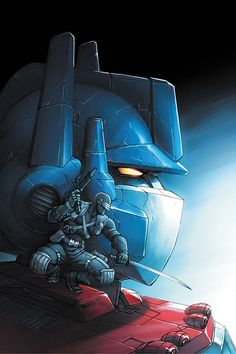 Optimus Prime piloted by Snake Eyes = THE MOST EPIC MECHA EVER! Art by Jeremy Roberts.