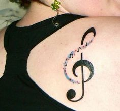 Music Note Tattoo on Back of Shoulder.