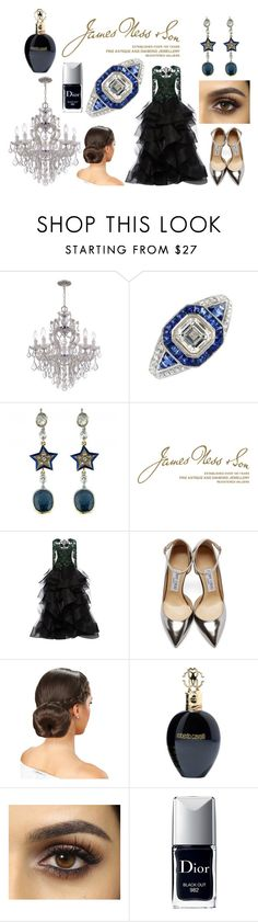 """Bell of the ball"" by jamesness on Polyvore featuring Wedgwood, Marchesa, Jimmy Choo, Roberto Cavalli and Christian Dior"