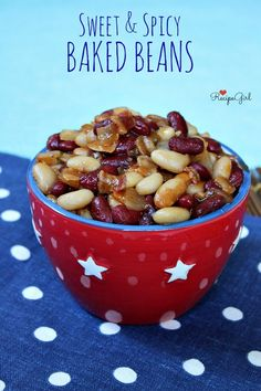 Sweet and Spicy Baked Beans : Perfect Labor Day Barbecue Recipe! - RecipeGirl.com Sweet And Spicy Baked Beans Recipe, Barbecue Recipes, Bacon Recipes, Side Dish Recipes, Salad Recipes, Most Pinned Recipes, Recipe Girl, Best Side Dishes, Photographs