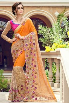Half Half Designer Chiffon And Net Mustard And Beige Fancy Saree