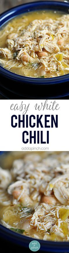 Easy White Chicken Chili Recipe - White Chicken Chili makes a delicious meal full of spicy chili flavor chicken and white beans. You'll love this easy White Chicken Chili recipe. Stovetop Slow Cooker and Freezer Instructions are provided to make easily Chili Recipes, Slow Cooker Recipes, Crockpot Recipes, Soup Recipes, Chicken Recipes, Cooking Recipes, Freezer Recipes, Hamburger Recipes, Good Food