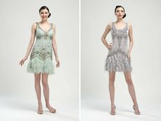 1920s Inspired Wedding Reception | 1920's inspired bridesmaids dresses in pale blue and slate grey by sue ...