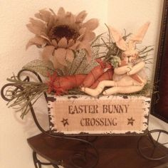 Primitive Easter Bunny Burlap Sunflower Carrot Wood Cart Honey and Me Rusty Star