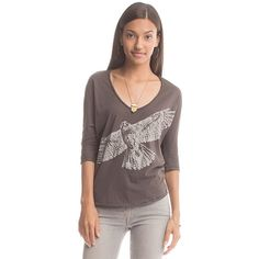 Organic and Fair Trade! The Dolma Top with this awesome hawk print is a great piece from our Spring 2015 Collection! This comfy top is the an absolute necessity this season. This dolman style top may look casual, but pair it with a cute skirt and heels and you're ready to take on the town!  100% Organic Cotton Tissue Knit Dyed with low-impact dyes 3/4 length sleeves Dolman silhouette Hand wash, line dry Made in Nepal