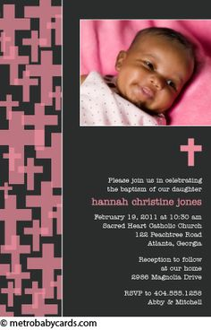 Photo Baptism/Christening Invitations :: Retro Cross Pink Design