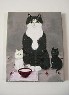 Chat blanc-chat noir - tableaux, peintures - La boutique de Sophie - Fait Maison